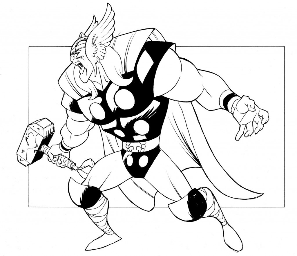 Thor Hammer Coloring Page