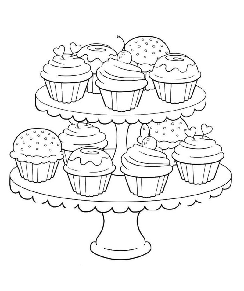 Trolls Cupcake Coloring Pages