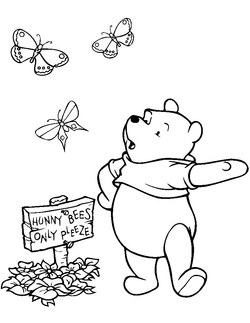 Winnie The Pooh Baseball Coloring Page