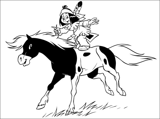 Yakari Coloring Pages A4