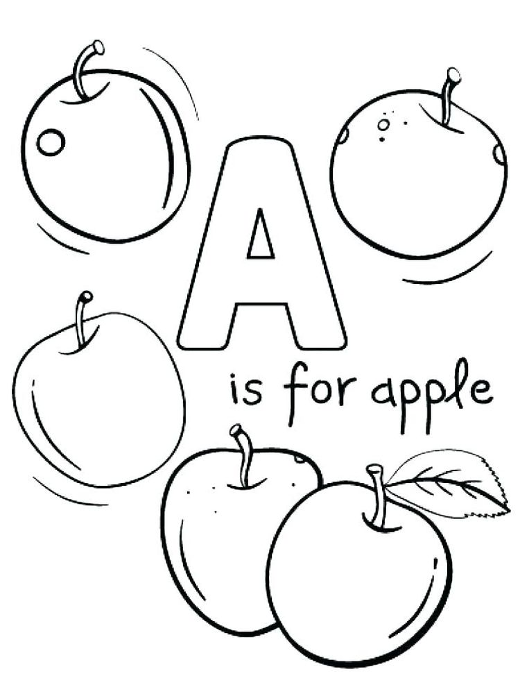a for apple coloring page printable