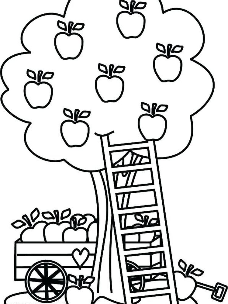 apple tree coloring pages printable Free