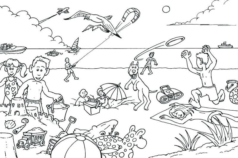 beach day coloring pages