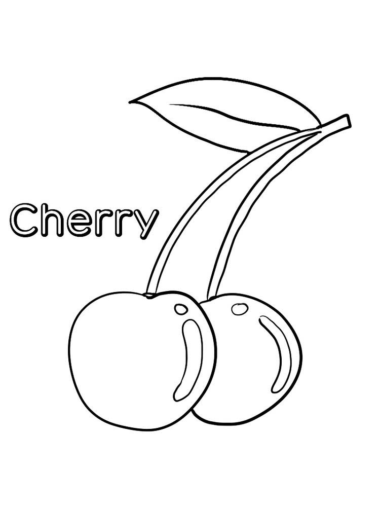 cherry coloring page print free