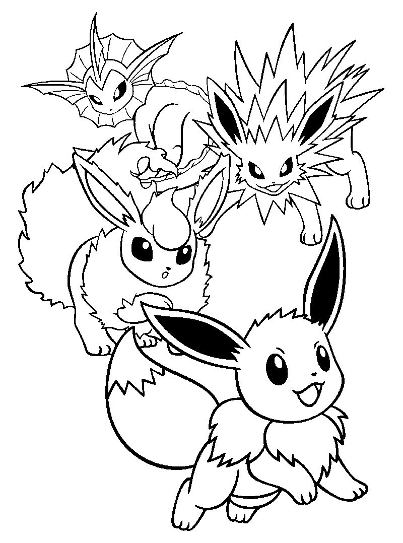 coloring pages pikachu and friends