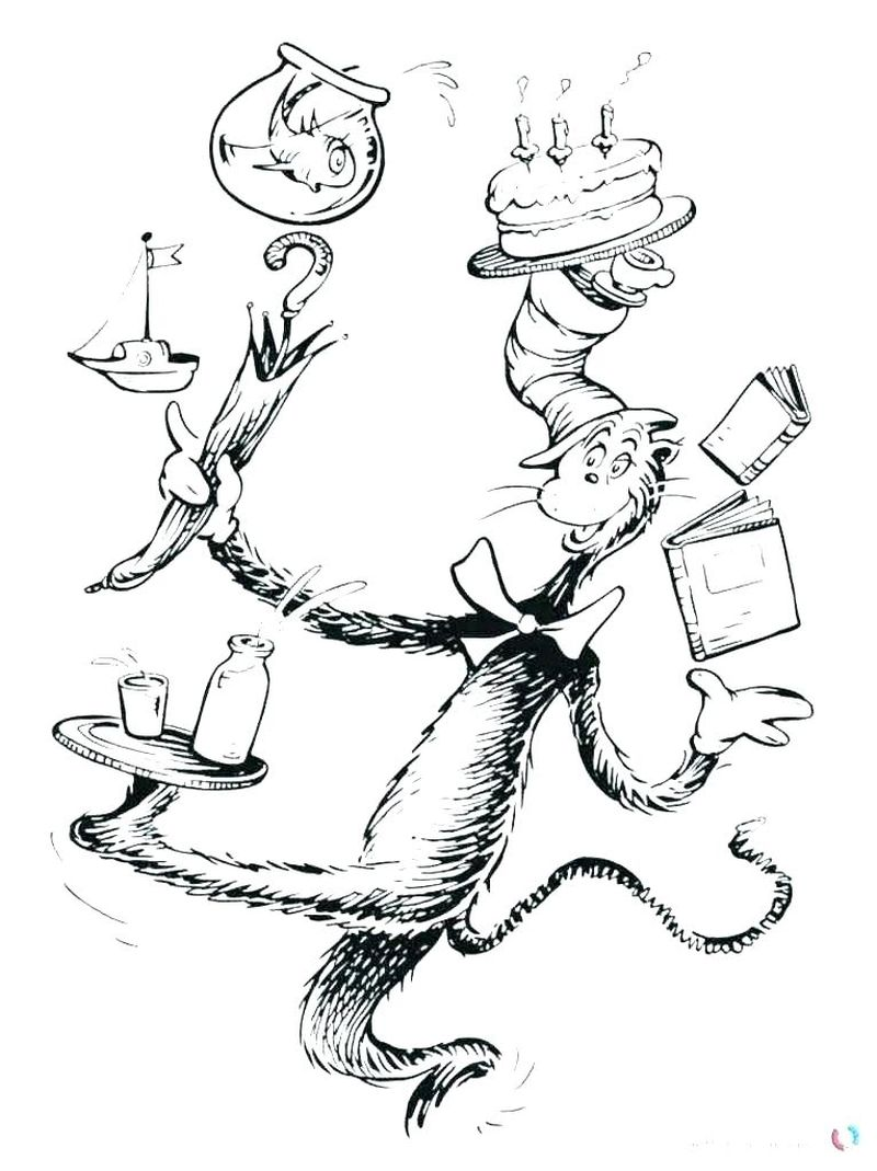 dr seuss coloring pages cat in the hat