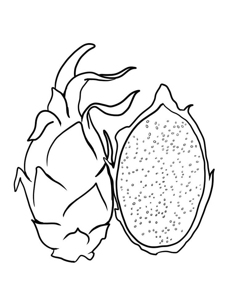 dragon fruit coloring page to print free
