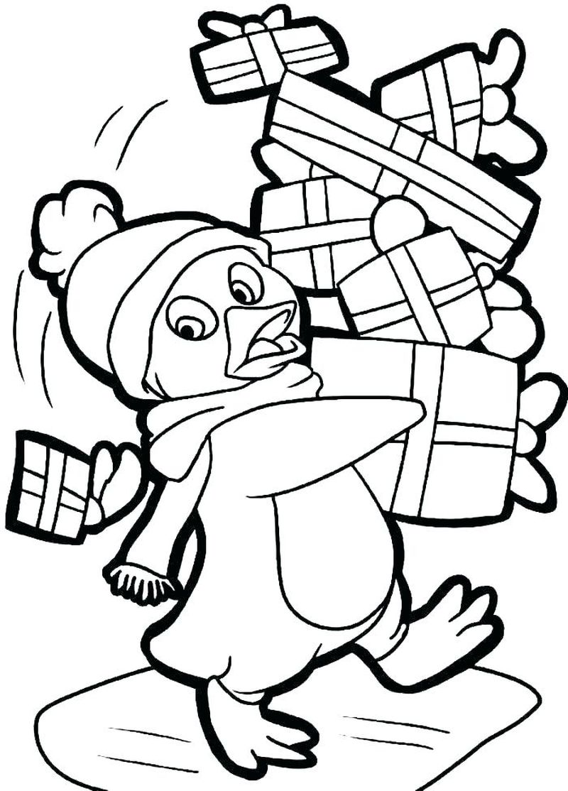 penguin coloring pages christmas