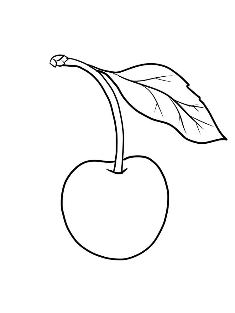 printable cherry coloring page free