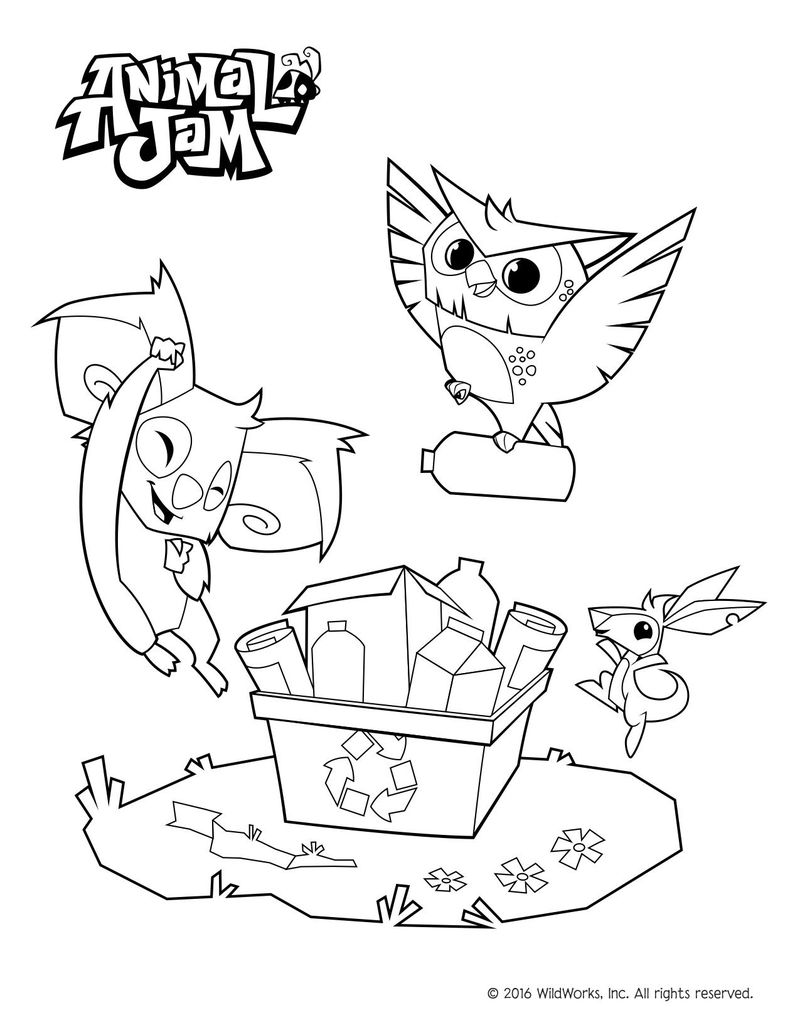 Animal Jam Coloring Pages Wolf Monkey Bunny Free