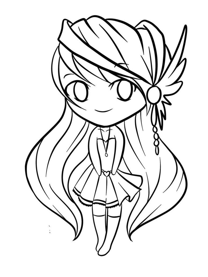 Anime Girl Chibi Coloring Pages free