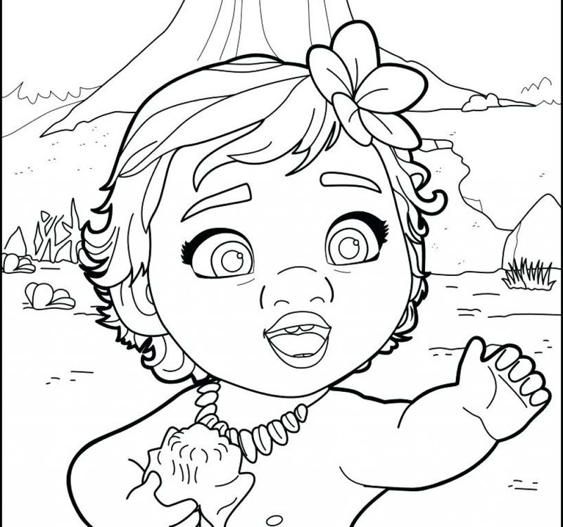 Baby Moana Coloring Page Free