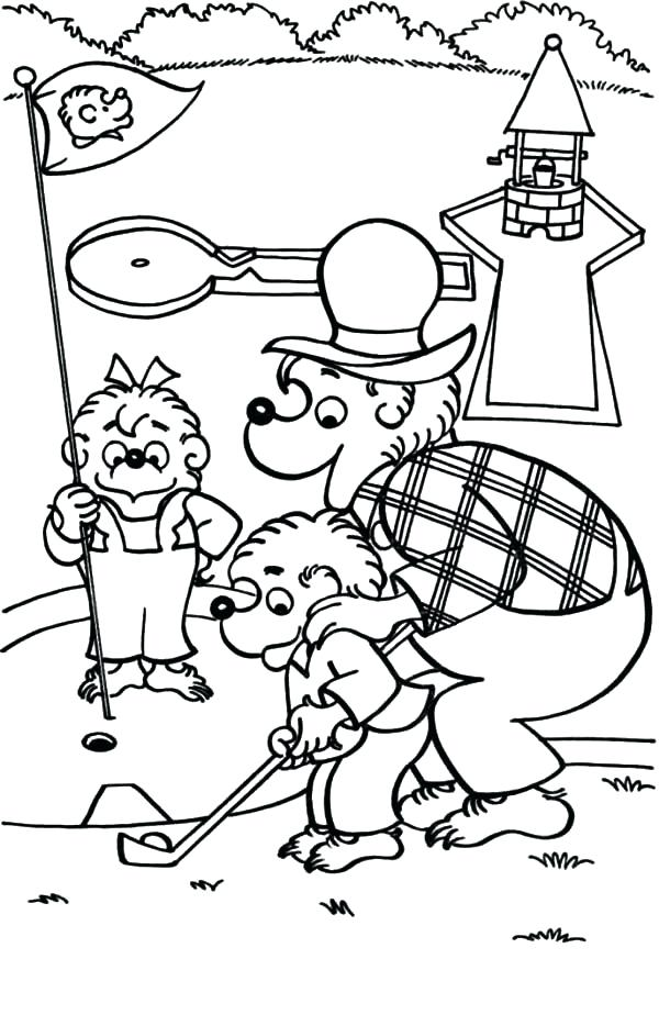 Bears Golfing Coloring Pages free