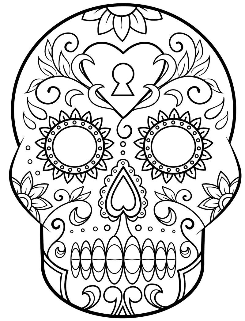 Blank Sugar Skull Coloring Pages