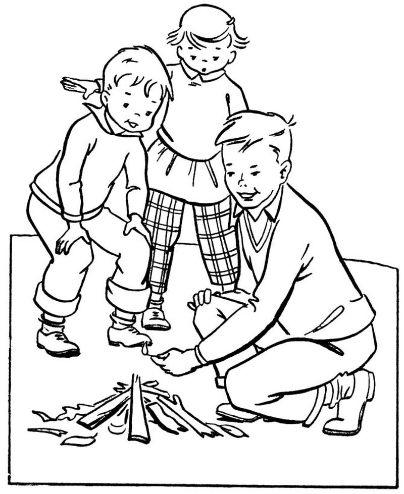 Cabin Camping Coloring Pages Free
