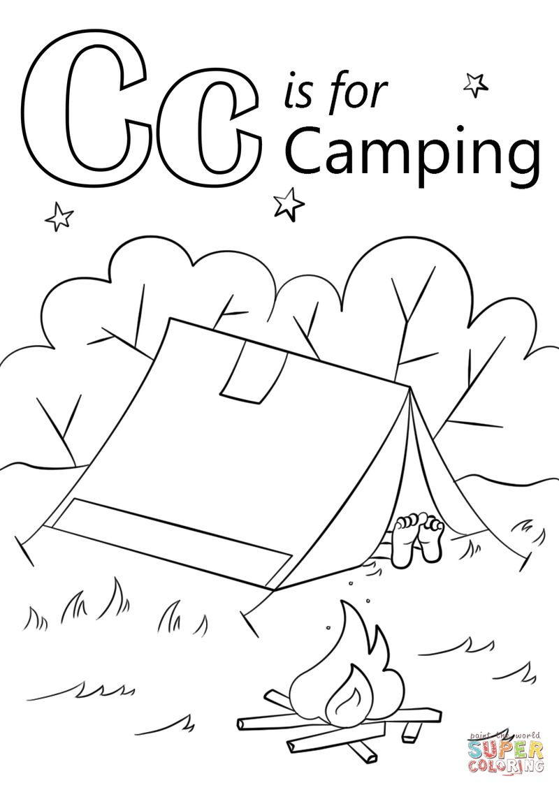 Camping Adult Coloring Pages Free
