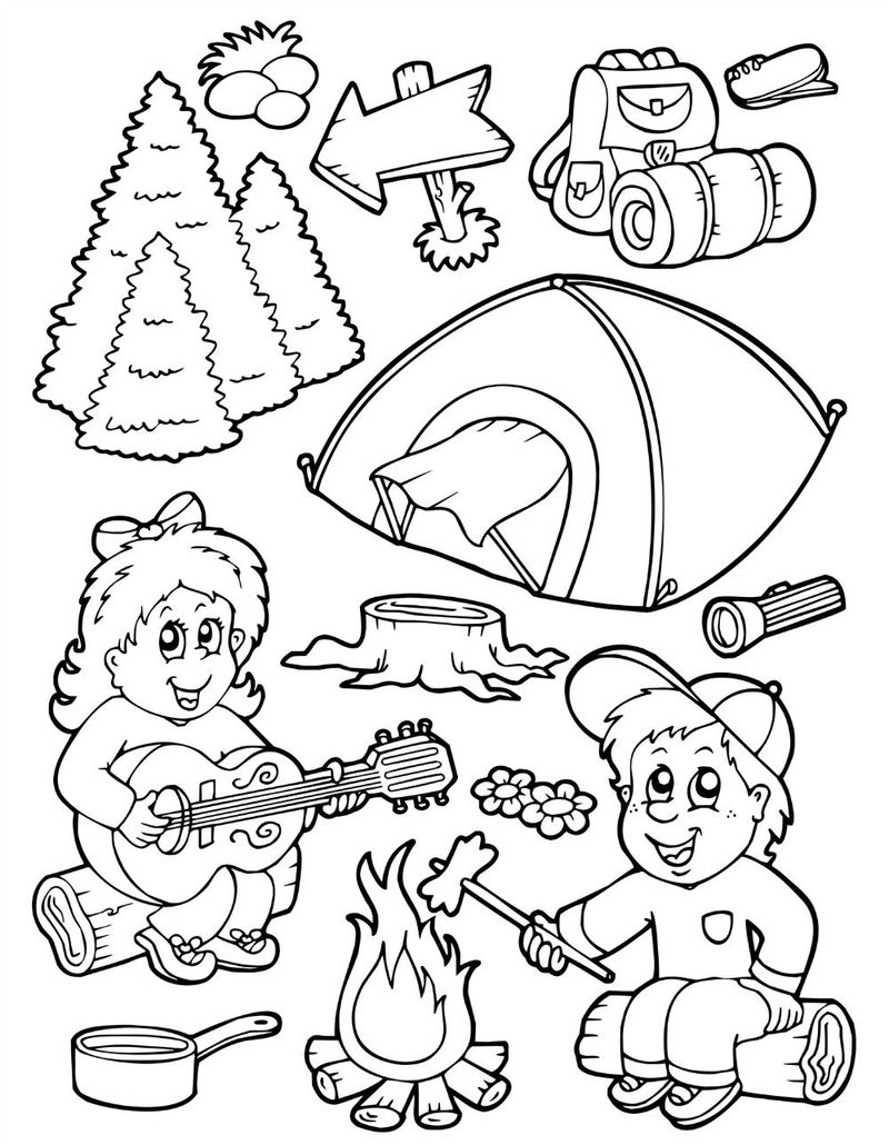 Camping Coloring Pages Printable