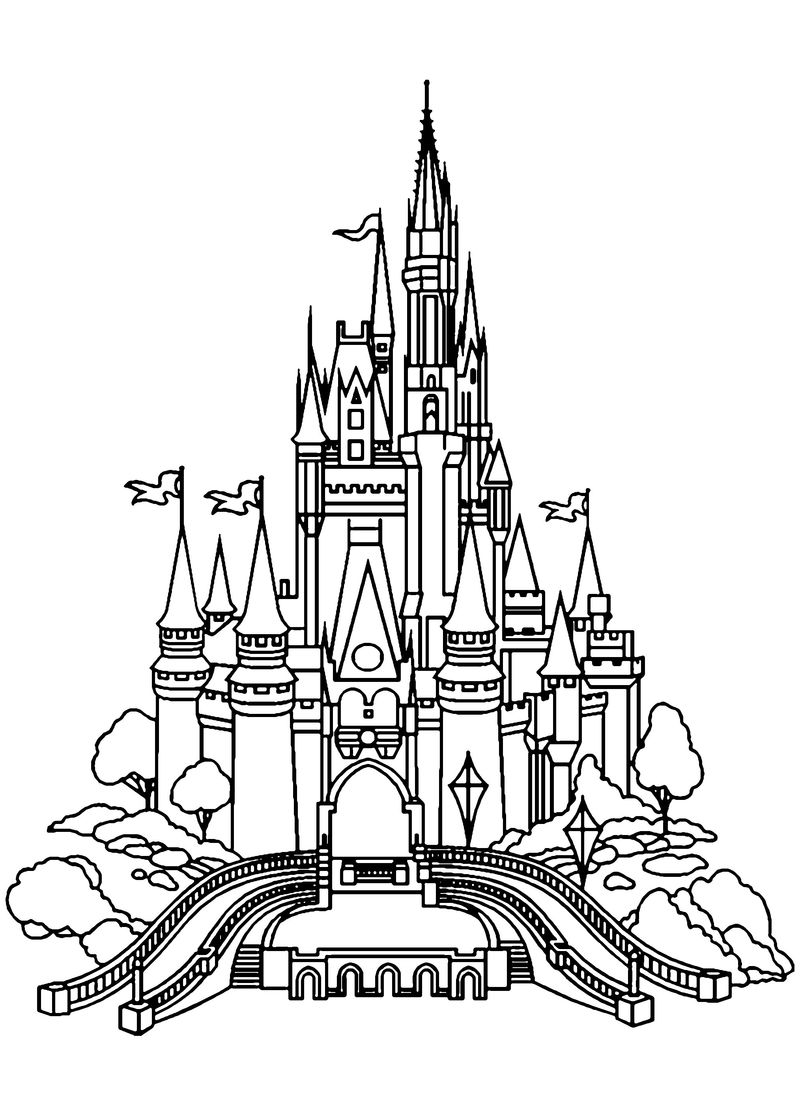 Castle And Dragon Coloring Pages