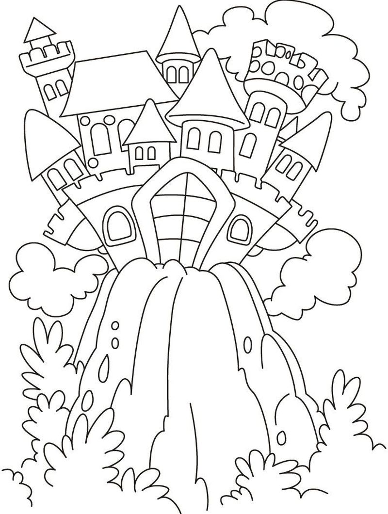 Castle Coloring Pages With Horses