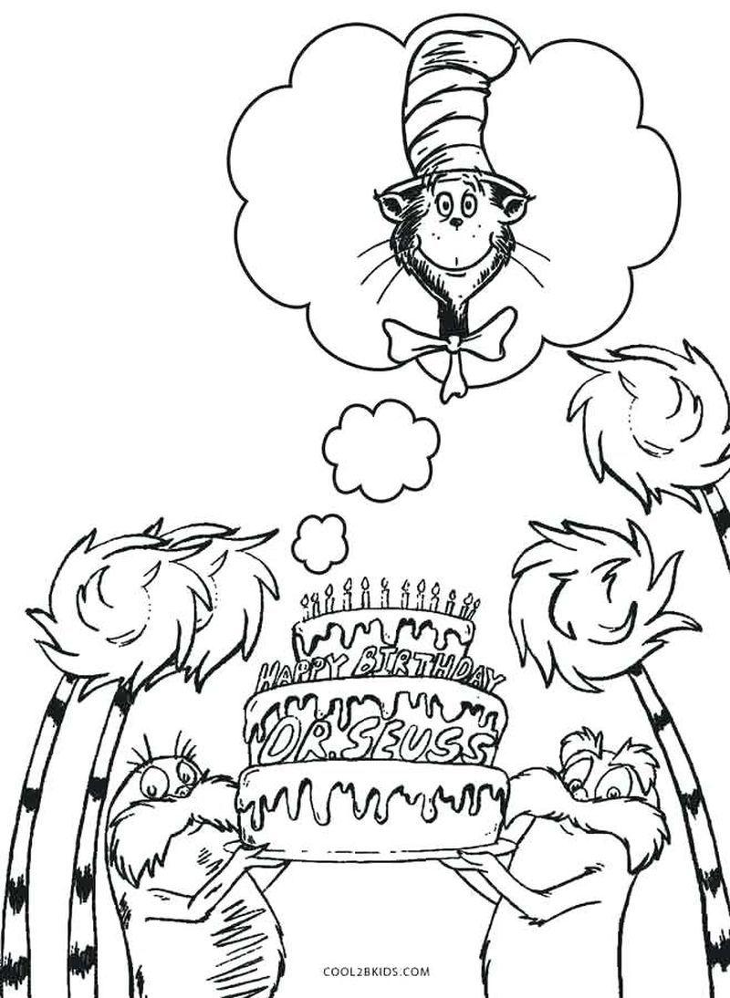 Cat In The Hat Coloring Pages Bows free