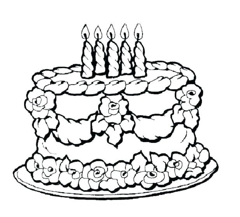 Coloring Pages Cake Flowers On Top
