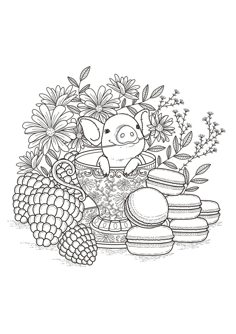 Cute Pig Coloring Pages For Kids