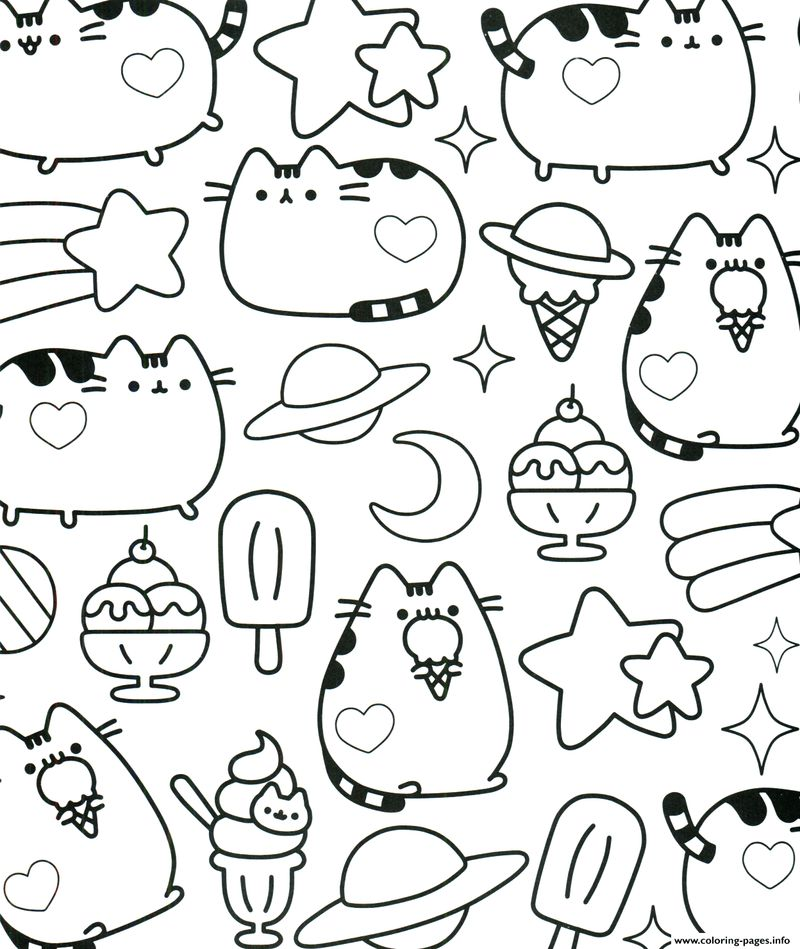 Cute Pusheen Coloring Pages image kids printable