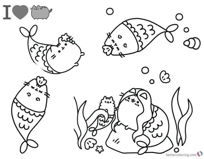 Cute Pusheen Coloring Pages image of kids printable