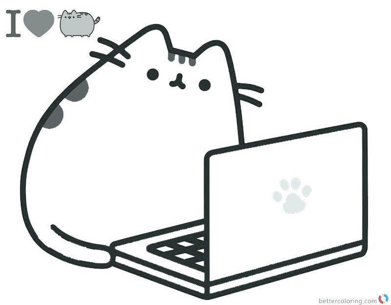 Cute Pusheen Coloring Pages print for kids printable