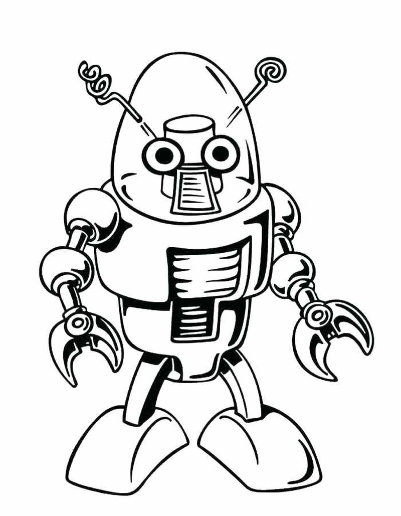 Cute Robot Coloring Pages Free
