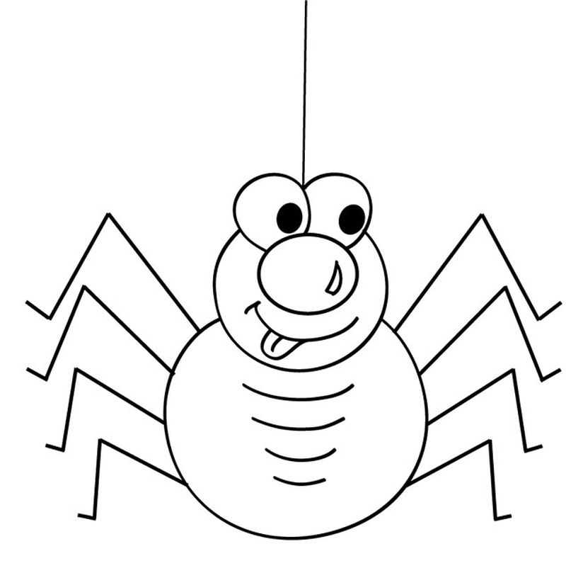 Cute Spider Halloween Coloring Pages