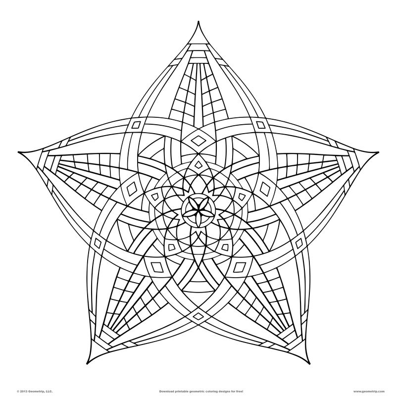 Difficult Geometric Coloring Pages free
