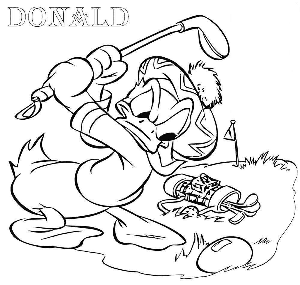 Donald Duck Golf Coloring Pages free