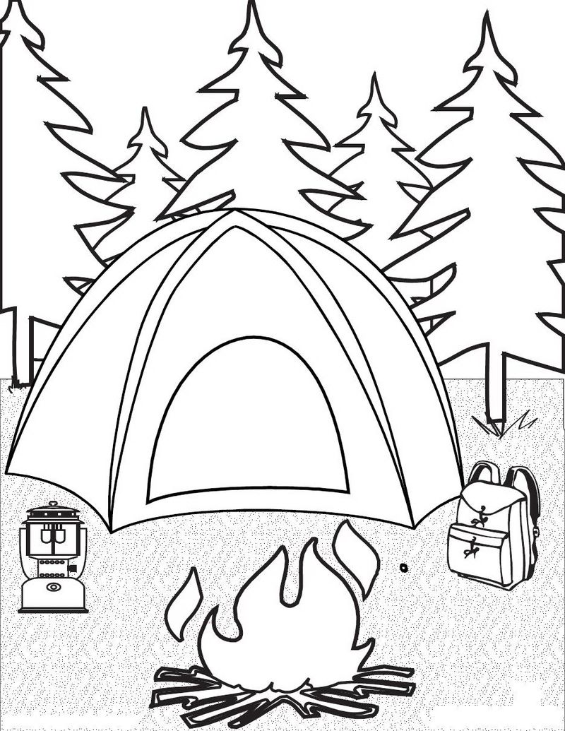Free Coloring Pages About Camping