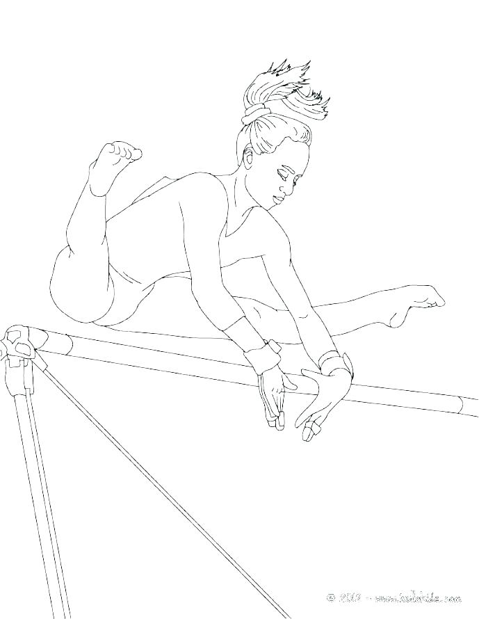 Gymnastics Coloring Pages On Bars