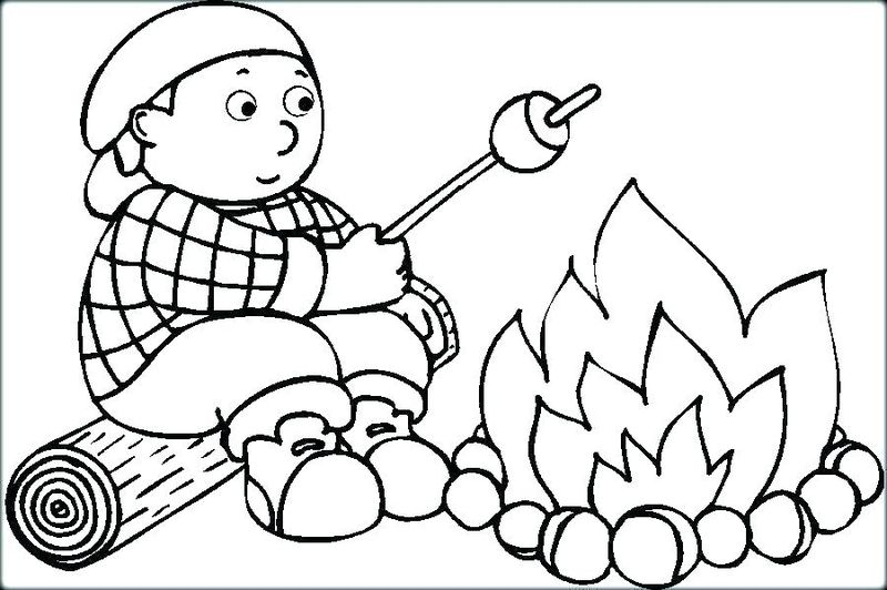 Hello Kitty Camping Coloring Pages Free