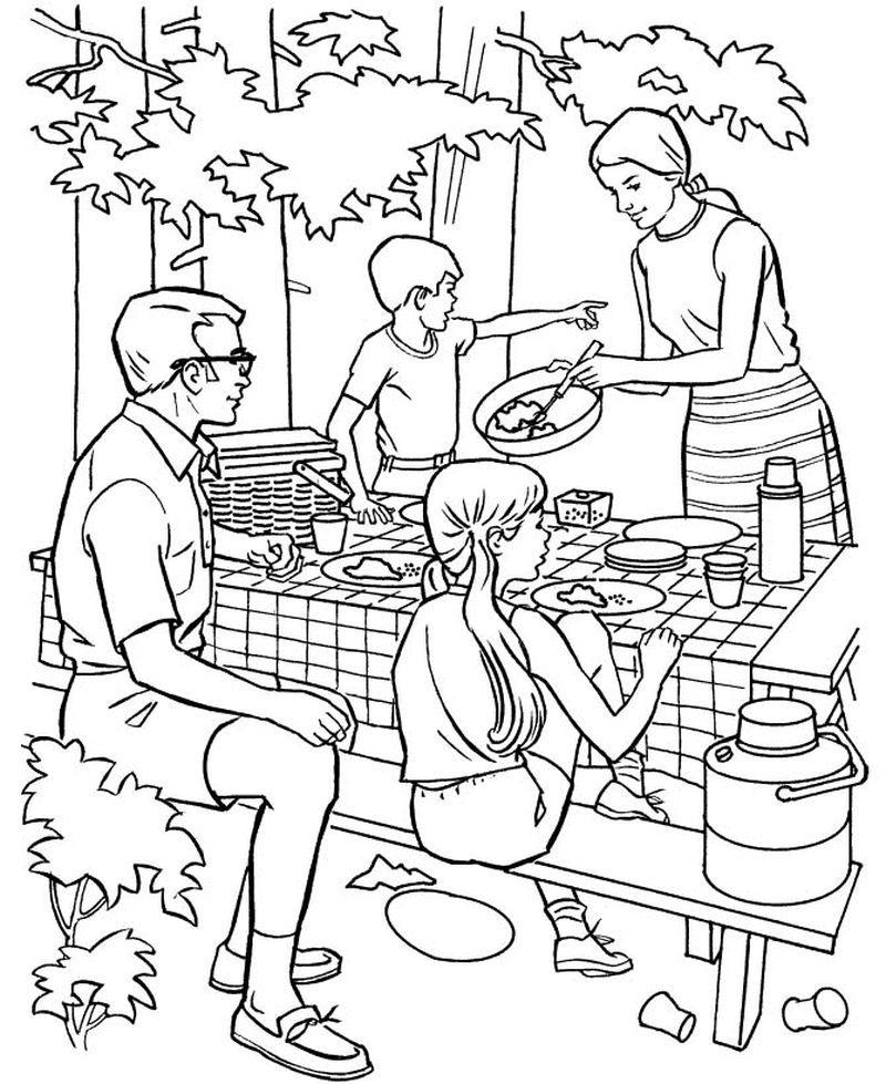 Jungle Camping Coloring Pages Free