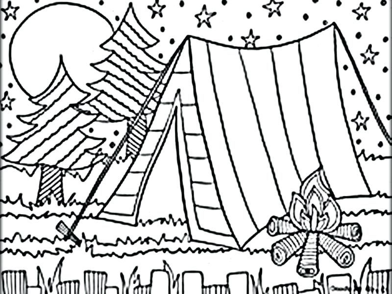 Marshmallow Camping Coloring Pages Free