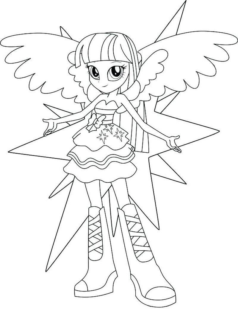 My Little Pony Coloring Pages Twilight Sparkle And Friends As Equestria Girls Free