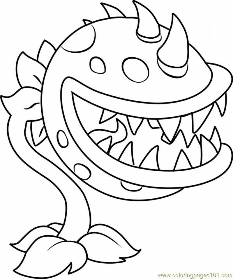Plants Vs Zombies Coloring Pages Chomper Free