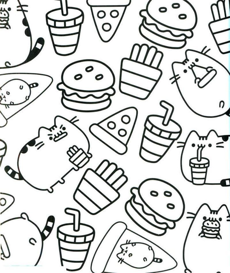 Pusheen Coloring Pages Black And White