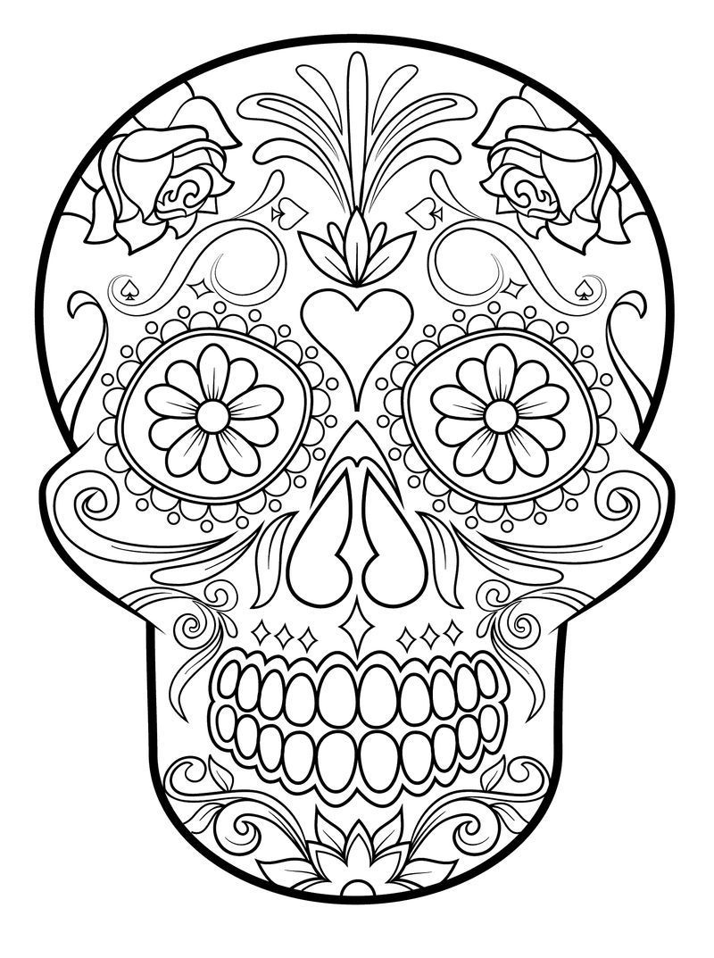 Scary Skull Coloring Pages For Adults