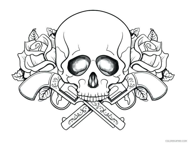 Skull And Flower Coloring Pages
