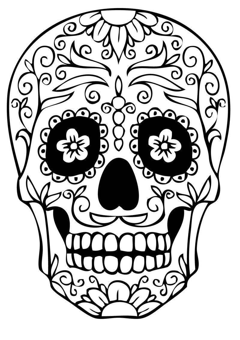 Skull Coloring Pages Easy