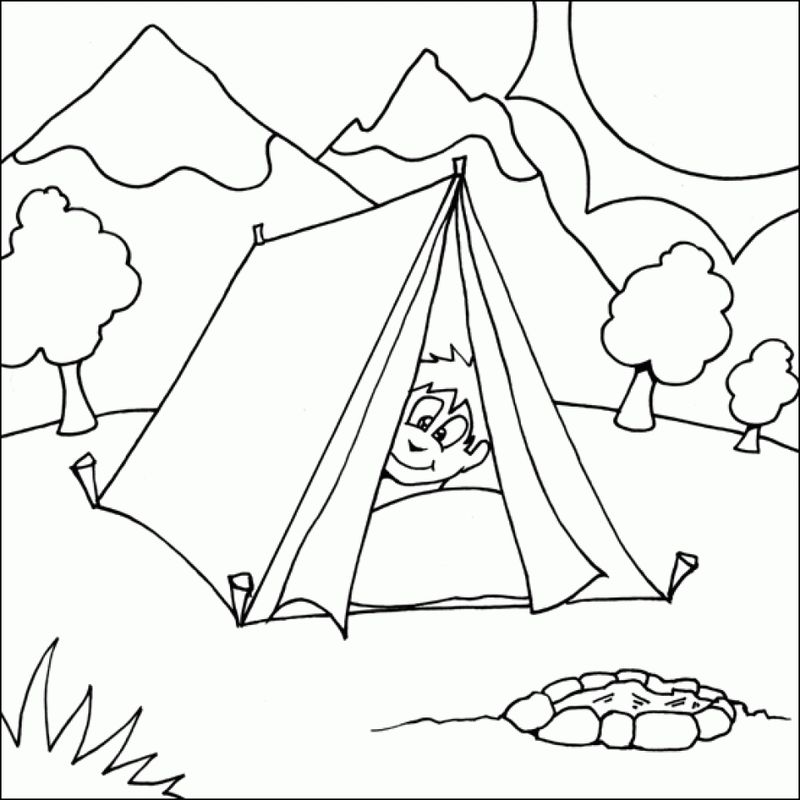 Snoopy Camping Coloring Pages Free