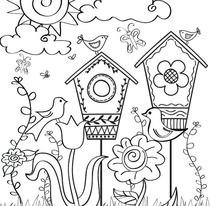 Spring Coloring Pages Easy