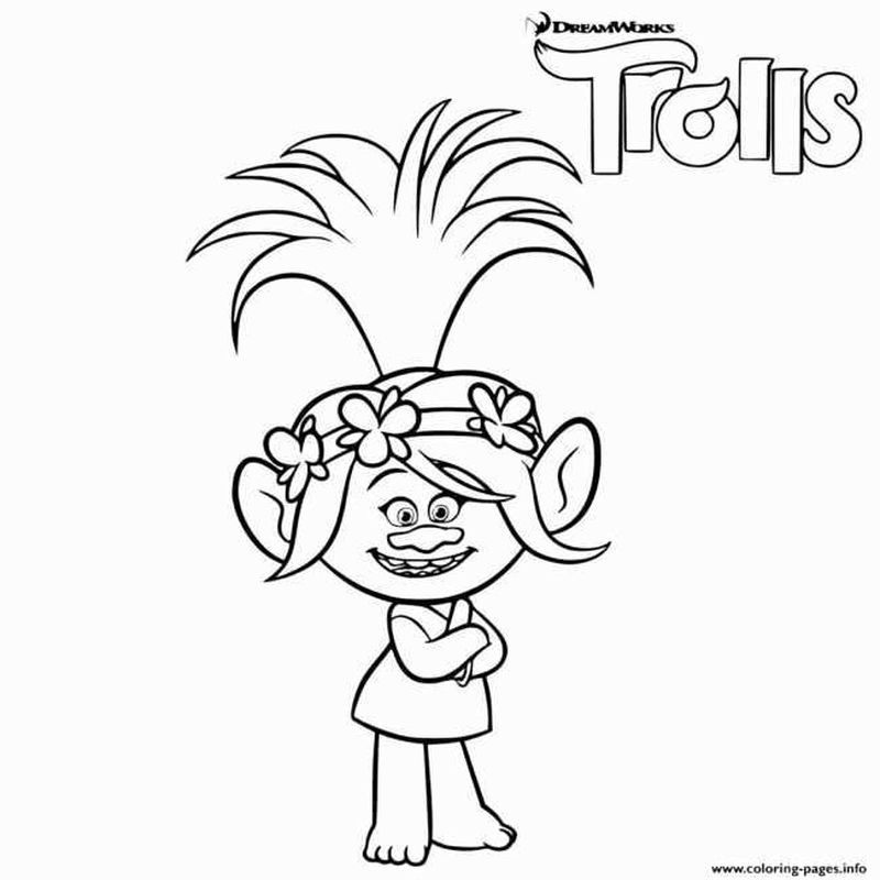Trolls Colouring Pages Branch