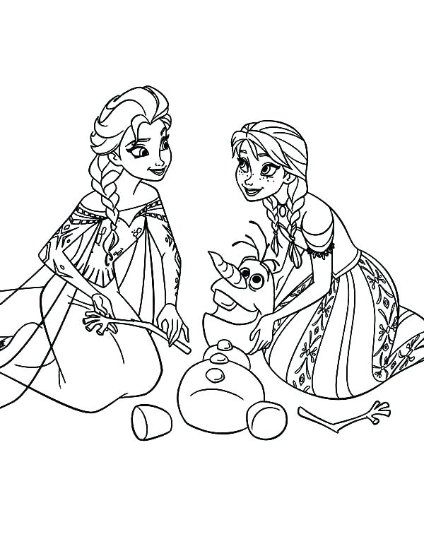 anna and olaf coloring pages