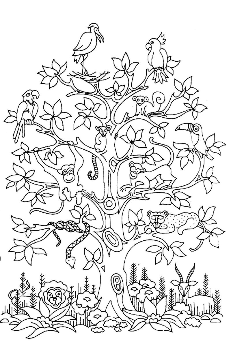 autumn tree coloring pages printable