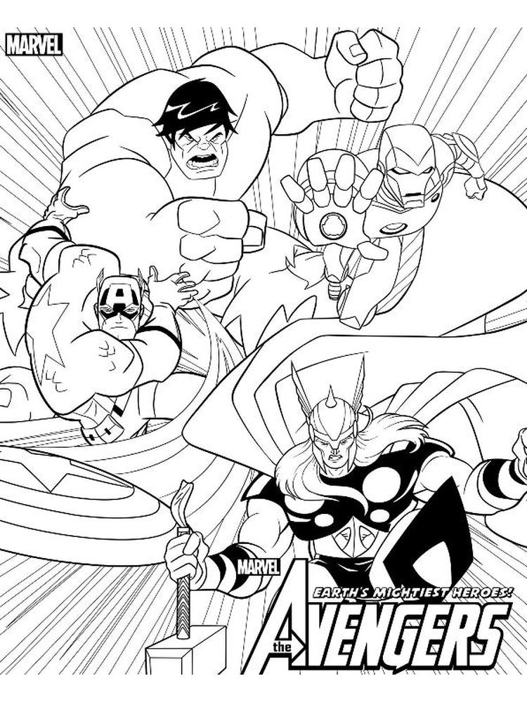 avengers black and white coloring pages free
